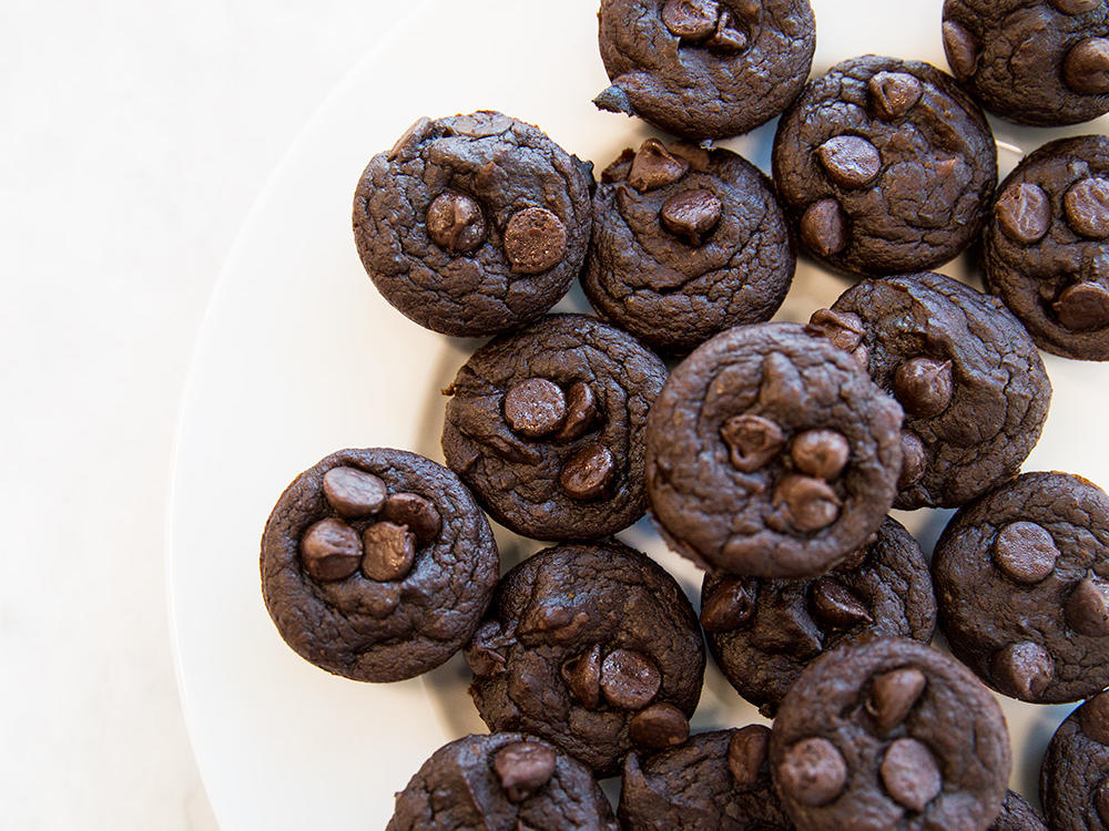 Gluten-Free Flourless Chocolate-Pumpkin Mini Muffins
