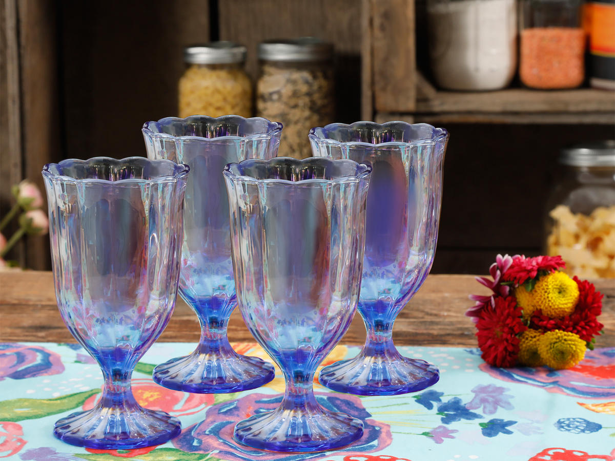 LUSTER BLUE PEARLIZED GOBLET (SET OF 4)