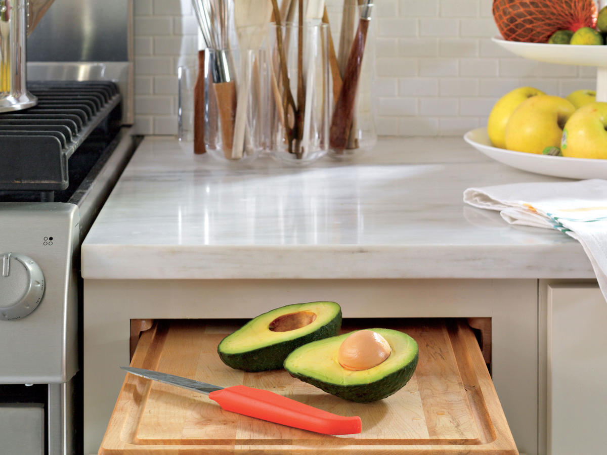 Cutting Board in Kitchen with Avocado