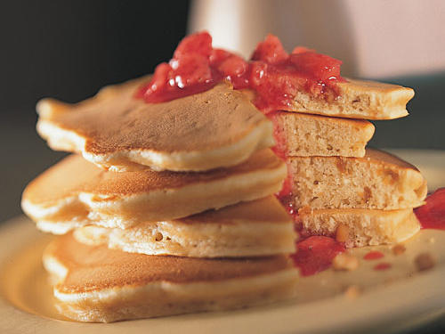 In this breakfast version of the PB&J, conventional chunky peanut butter works best. Serve with any kind of jam or fruit syrup.
