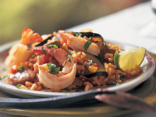 Spicy Paella with Chile, Lime, and Cilantro
