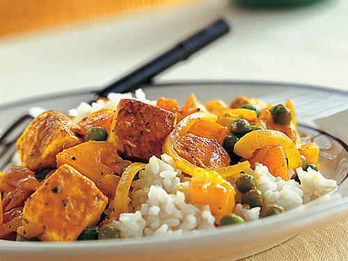 Tofu with Red Curry Paste, Peas, and Yellow Tomatoes Recipes