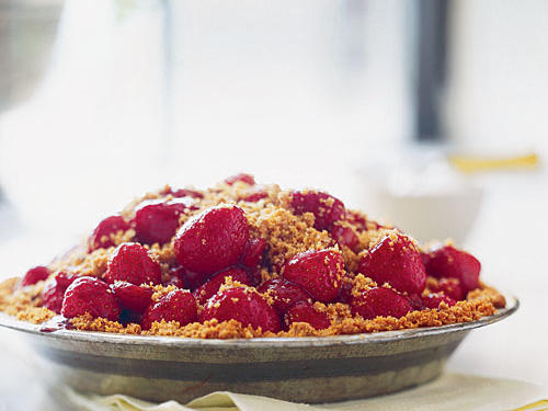 Their season doesn't officially start until April, but you should be able to find fresh strawberries at the supermarket just about any time of year. Use them in this timeless graham-cracker-crusted treat, made more sophisticated with a splash of balsamic vinegar and a hazelnut streusel topping.