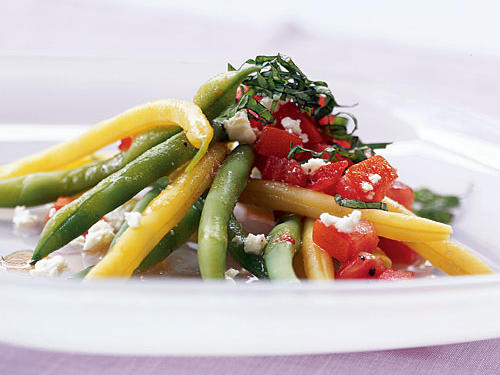 Green and Yellow Bean Salad with Chunky Tomato Dressing and Feta