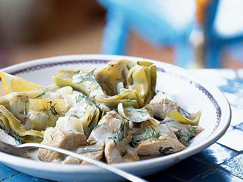 Veal-and-Artichoke Stew with Avgolemono