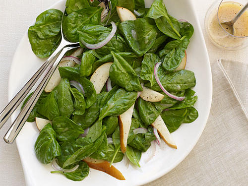 Perfect for a side dish to serve to company or on special family occasions, this fresh spinach salad features pears and a red-wine vinegar based dressing for an unbeatable combination.