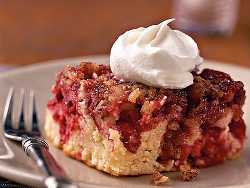 Cranberry Upside-Down Cake with Cognac Cream
