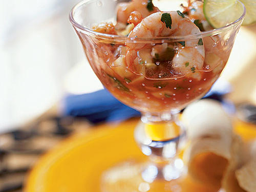 "While traditional ceviche recipes involve raw seafood ""cooked"" by the acid of limes, this 5-star Mexican shrimp cocktail app features cooked shrimp accented by a sauce that's a cross between salsa and cocktail sauce.""This one is so yummy that we fought over the leftovers!"" says Cathy F."