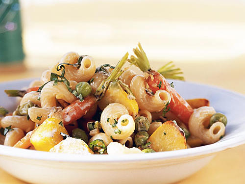 Use fresh seasonal vegetables for a hearty meatless meal. For the meat lovers in the family, feel free to add chicken or shrimp to this pasta recipe.