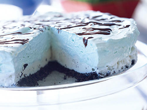 Velvety vanilla ice cream, rich marshmallow crème, and cool mint join with chocolate to create a sublime frozen dessert. If you take about five minutes to assemble it in the morning, you can enjoy this pie for dessert any night of the week.