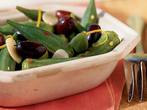Lemon-Macerated Okra and Olives