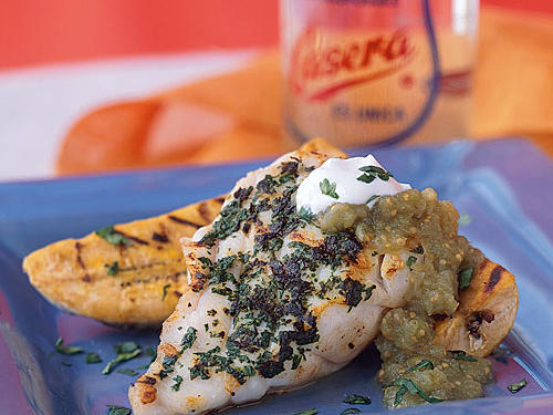 Grilled Grouper with Plantains and Salsa Verde