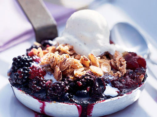 Triple-Berry Crisps with Meringue Streusel Recipe