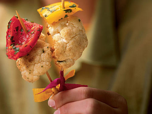 1209 Roasted Cauliflower Skewers with Sweet Peppers and Cumin