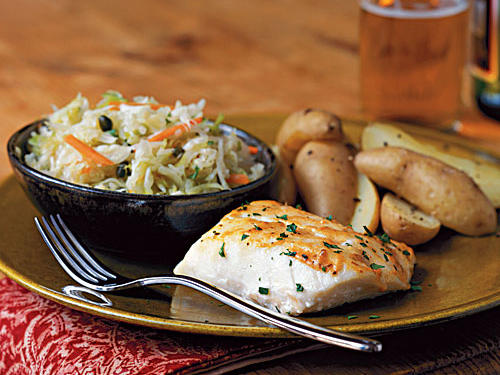 The mildness of cod takes well to bold flavorings such as Dijon mustard and Creole seasoning. Lemon juice, added after cooking, brightens the flavor. Serve with steamed fingerling potatoes and warm cabbage slaw.