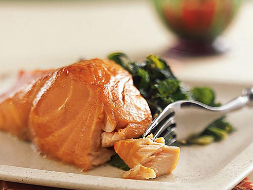 Sherry-Glazed Salmon with Collard Greens