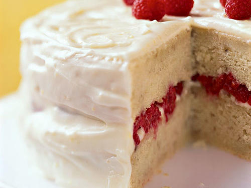 Banana-Raspberry Cake with Lemon Frosting