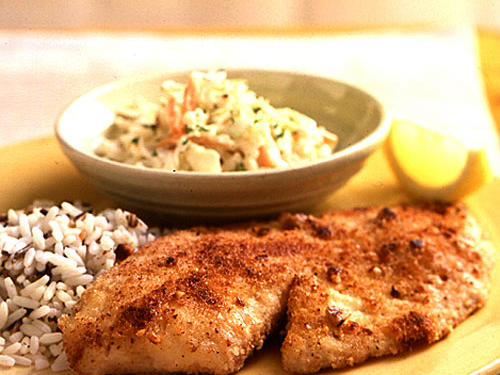 A weeknight favorite, this quick and easy pecan-crusted tilapia serves up moist fish with a crunchy crust.