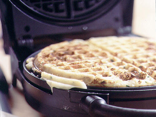 Sour Cream, Cheddar, and Chive Potato Waffles Recipe