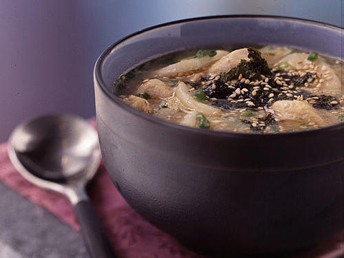 Beaten egg thickens this Asian-inspired soup, reminiscent of an egg drop soup. You can make the seasoned, toasted nori garnish to eat with the rice.
