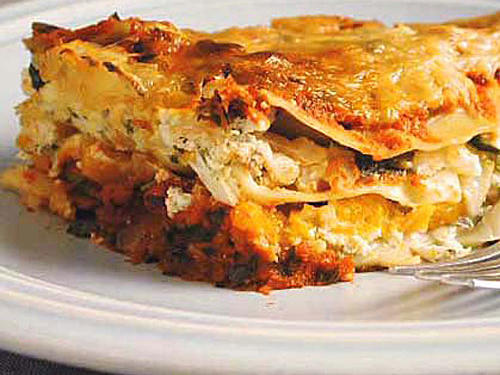 The sweet squash contrasts beautifully with Smoky Marinara in this butternut squash lasagna. You can make the marinara in advance, and store it in the refrigerator for up to 2 days. Or use a bottled marinara for quicker prep time.