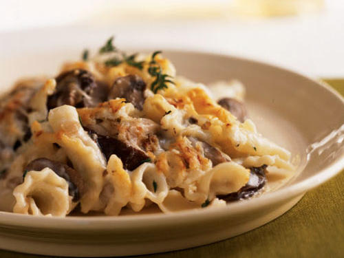 Two types of mushrooms along with a full cup of Italian Asiago cheese give body and flavor to the velvety sauce, which is laced with sherry.