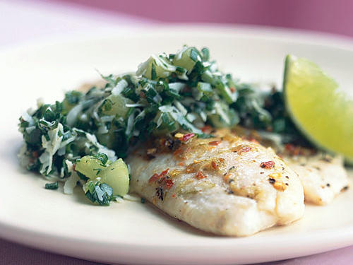 Tilapia with Coconut, Mint, and Chive Relish