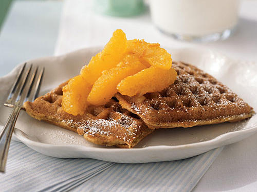 Marmalade and citrus makes for just the right combination of sweet, tangy, and tart whole wheat waffles. Sift powdered sugar over the top of the waffles for an excellent start to your morning.