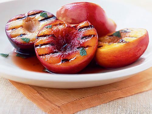 With its deeply flavored dressing and deliciously fresh fruit, this dish can serve as appetizer, salad, or dessert. It's a great introduction to pluots―a cross between a plum and an apricot with the firm texture of the former and the sweet juiciness of the latter. They're pretty commonly available, but you might overlook them if you haven't heard of them.