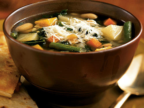 Make the most of fall produce like butternut squash and kale in this hearty vegetarian soup. Pasta and beans make it especially filling.