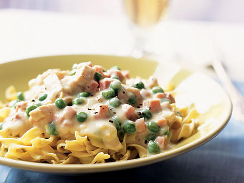 We love the combination of ham, cheese, and chicken in this classic dish, but not so much the frying. So we turned it into a creamy cheese sauce with the chicken and ham mixed in, to be served over egg noodles. Serve with a very simple, very fresh green salad, dressed with a nice acidic vinaigrette to counteract the pasta's richness.