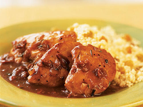 The sweet-and-sour flavors of port and cherries are a great match for pork, chicken, or turkey; you could use pork tenderloin or chicken breasts as easily as turkey in this recipe. The whole thing, from cooking the meat to creating the thick, glossy pan sauce, takes just 10 minutes. Leftover Thanksgiving stuffing is a good side, especially Wild Rice Stuffing.
