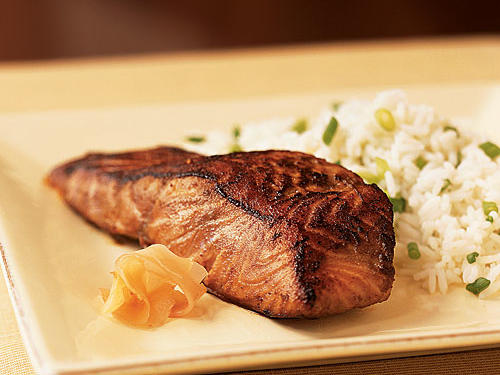 A combination of a five-minute soy-wasabi marinade and high-heat searing leaves a lovely brown crust on the fish in this recipe. You can try it with tuna, too; in that case, sear just a few minutes so the fish is medium-rare. Any kind of easy rice dish, from plain white to Garlic and Ginger Rice, makes an excellent side.