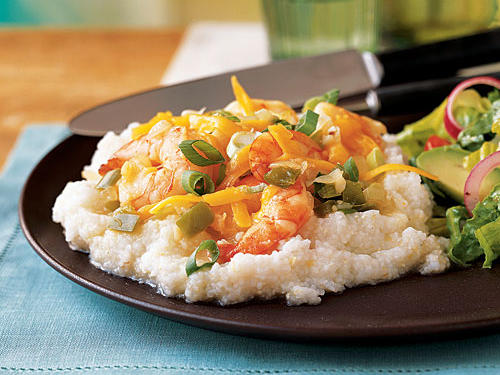 "This shellfish specialty of the Carolina Low Country, sometimes called ""breakfast shrimp,"" tastes great for brunch or dinner. Start with frozen bell pepper and onion, as well as prepeeled and deveined shrimp, to minimize prep time.