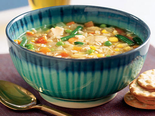 To make for a satisfying main dish, a soup needs to be thick or chunky. This one fits both bills. Each spoonful offers a plethora of vegetables, plenty of chicken, and lots of hearty, chewy barley. Frozen vegetables are a great way to get variety in this recipe, but if you have leftover cooked veggies lying around, throw them in instead.
