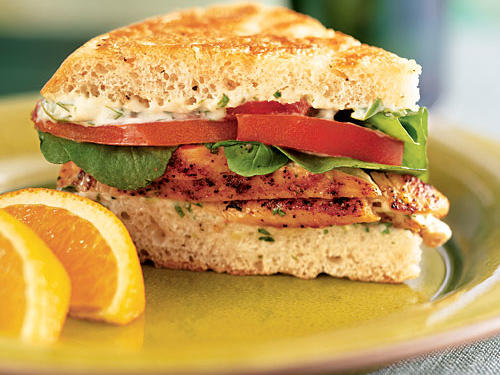 Don't skip pounding the chicken; it may seem like extra work, but it takes just a minute and makes for extremely tender and juicy meat that cooks extra quickly. A fast lime-cilantro mayo adds Mexican flavor to this sandwich, and focaccia is just the right combination of crusty and chewy.