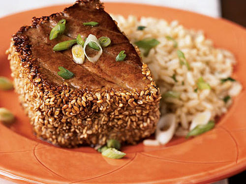 Sesame-Crusted Tuna with Ginger-Peanut Rice