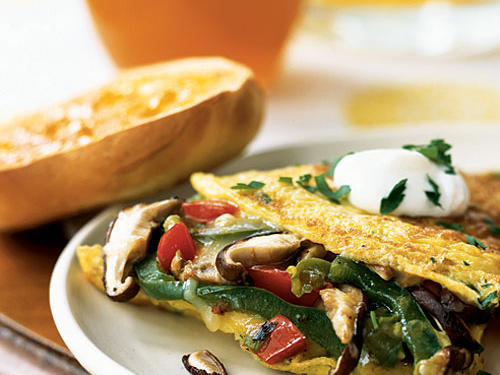 Bursting with flavor and savory ingredients, this omelet is filling and easy to make. Tip: If your vegetable mixture leaves some liquid in the pan, wipe it dry with a paper towel before adding the egg mixture.
