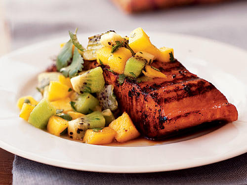 Marinated Salmon with Mango-Kiwi Relish