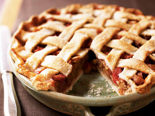 Worth the time and effort in the kitchen, this rhubarb pie is as wonderful to look at as it is to eat.