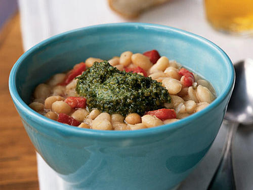 White Beans with Roasted Red Pepper and Pesto