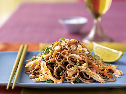 You'll only need about 15 minutes to cook the chicken and noodles for this flavorful Asian salad. If short on time, substitute rotisserie chicken or leftover cooked chicken, and purchase preshredded carrots from your supermarket's produce section.