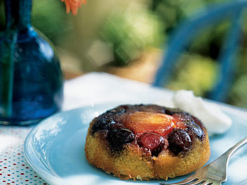 This dessert spotlights seasonal apricots and cherries at the peak of perfection. You can also make these treats with nectarines or peaches; just be sure to use small ones (about the size of apricots) so they won't crowd the custard cups.