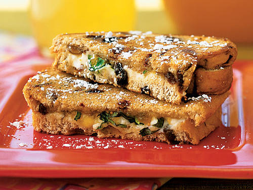These are equally as good for breakfast or dinner. Mixing honey with the goat cheese makes it easier to spread over the cinnamon-raisin bread.