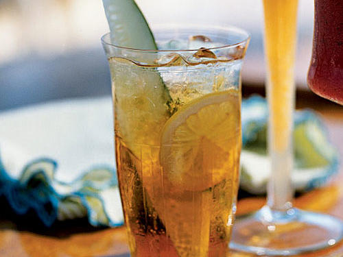 This refreshing drink gets most of its flavor from Pimm's No. 1, a gin-based aperitif with fruit juices and spices developed in London in 1823 by James Pimm. It was originally enjoyed with oysters, but we think cucumber spears make a delicious garnish.