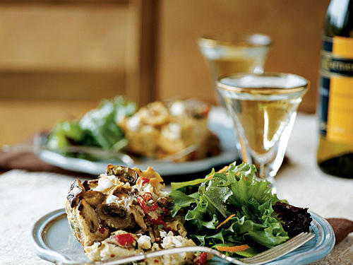 Mushroom, Roasted Red Pepper, and Goat Cheese Bread Pudding