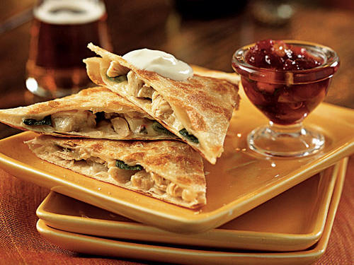 Be creative with your Thanksgiving leftovers―turkey sandwiches get boring after a few days! This recipe truly transforms them, pairing turkey with jack cheese (use pepper jack for an extra flavor jolt) in a quesadilla, and creating a sweet-spicy Mexican salsa based on cranberry sauce.