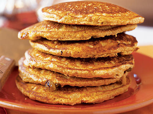 This recipe combines whole wheat flour and farina with applesauce and raisins for a delightfully sweet and filling pancake.