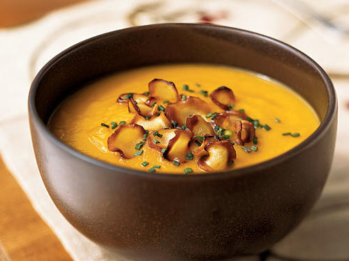 Just because some farmers' markets are closed for winter doesn't mean fresh produce is out. In Carrot-Parsnip Soup with Parsnip Chips, winter root vegetables lend their complementary, slightly sweet flavors to a hearty bowl of soup. A topping of crunchy parsnip chips is an unexpected-and delicious-twist.See more: Best Recipes for Winter Vegetables and Fruit