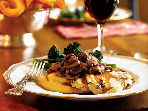 The name sounds like something you'd find in a three-star restaurant, and the finished dish lives up to the name. Wonderfully creamy polenta and deeply earthy mushrooms complement a simply flavored roast chicken that's juicy and delicious. This dish is perfect for smaller gatherings where a whole turkey or roast would just be too much.